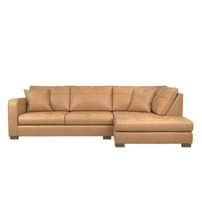 An Image of Carson Faux Leather Right Hand Corner Sofa Tan
