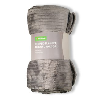 An Image of Striped Fleece Throw - Charcoal - 130x180cm