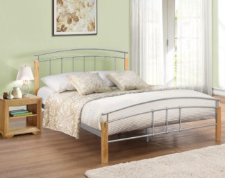 An Image of Wooden and Metal Bed Frame 4ft Small Double Tetras Beech Finish