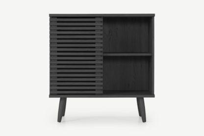 An Image of Tulma Compact Cupboard, Black Wood Effect