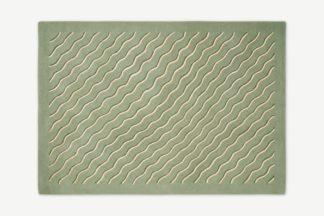 An Image of Poodle & Blonde Bellisima Tufted Wool & Viscose Rug, Large 160 x 230 cm, Sage Green