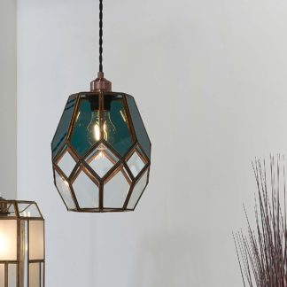 An Image of Vogue Eacham 1 Light Pendant Ceiling Fitting Antique Brass