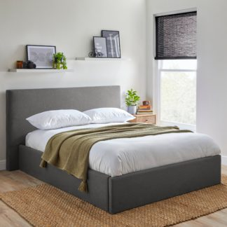 An Image of Modern Squared Upholstered Bed Light Grey