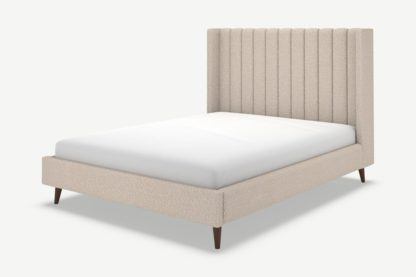 An Image of Cory Double Bed, Mink Grey Boucle with Walnut Stain Oak Legs