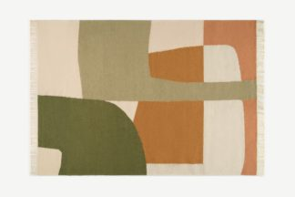 An Image of Waltara Flatweave Wool Rug, Large 160 x 230 cm, Green & Orange