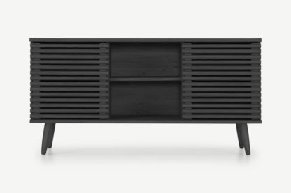 An Image of Tulma Wide Sideboard, Black Wood Effect