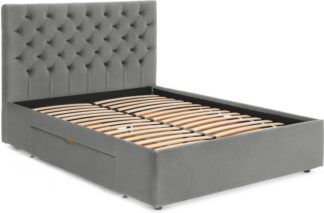An Image of Skye King Size bed with Drawer Storage, Light Grey Velvet
