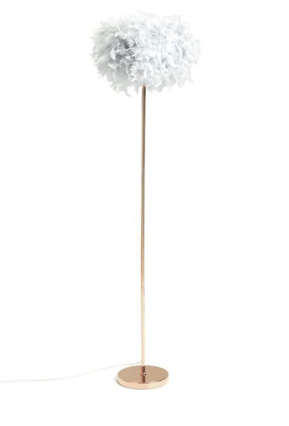 An Image of Argos Home Feather Floor Lamp - Grey and Rose Gold
