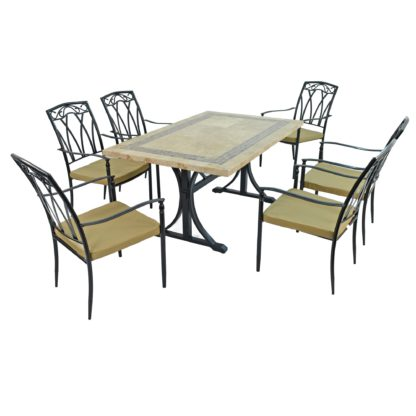 An Image of Charleston 6 Seater Dining Set with Ascot Chairs Brown and Black
