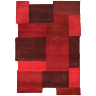 An Image of Abstract Collage Rug Red