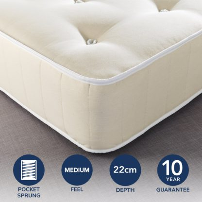 An Image of Fogarty Dreamy Comfort Eco Cotton 1000 Pocket Sprung Mattress Yellow