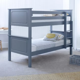 An Image of Vancouver Grey Solid Pine Wooden Bunk Bed Frame - 3ft Single