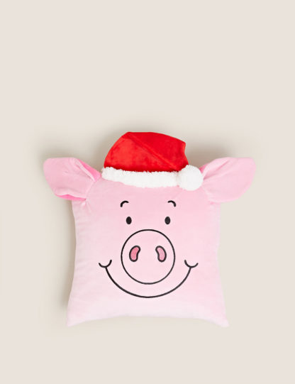 An Image of M&S Velvet Percy Pig™ Cushion