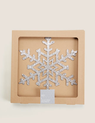 An Image of M&S 2 Pack Glitter Snowflake Tree Decorations