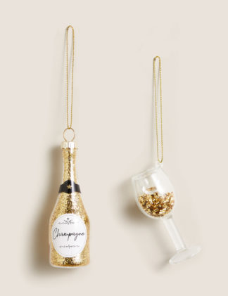 An Image of M&S 2 Pack Gold Champagne Tree Decorations, Gold