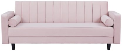 An Image of Habitat Panelled Clic Clac Velvet Sofa Bed - Pink