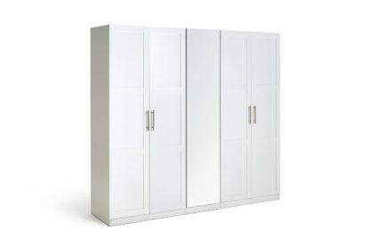 An Image of Habitat Munich 5 Door Mirror Framed Wardrobe - White