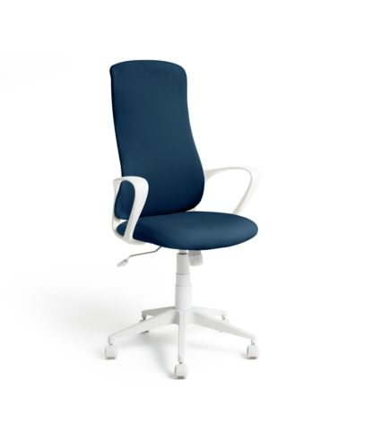 An Image of Habitat Quin Fabric Office Chair - Blue