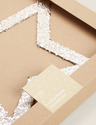 An Image of M&S 2 Pack Glitter Star Tree Decorations