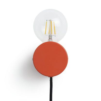 An Image of Habitat Banquo Plug In Wall Light - Orange