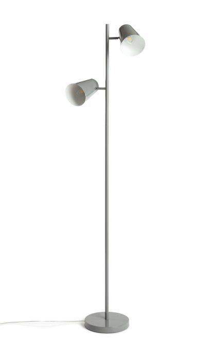 An Image of Habitat Iras Double Head Floor Lamp - Grey