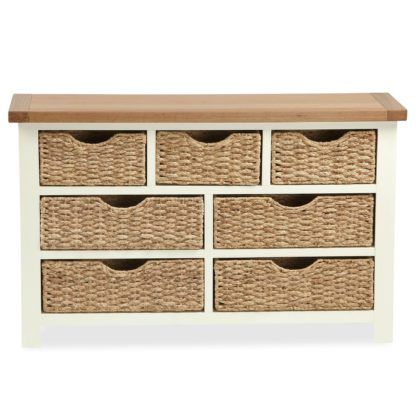 An Image of Wilby Cream 7 Drawer Chest with Baskets Cream