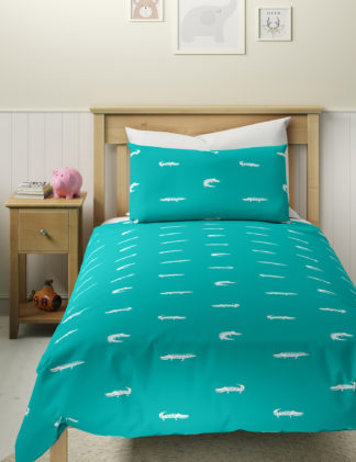 An Image of M&S 2 Pack Cotton Mix Crocodile Bedding Set