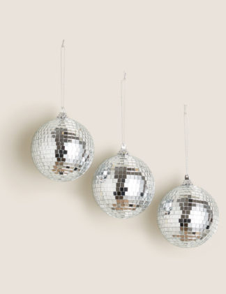 An Image of M&S 3 Pack Hanging Disco Ball Decorations