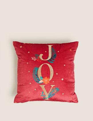 An Image of M&S Velvet Joy Slogan Embroidered Cushion