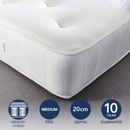 An Image of Fogarty Just Right Memory Foam Top Orthopaedic Open Coil Mattress White