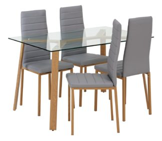 An Image of Argos Home Helena Glass Dining Table & 4 Grey Chairs