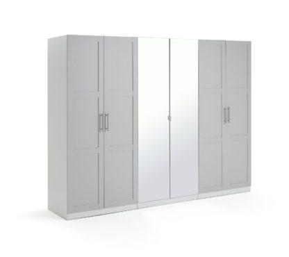 An Image of Habitat Munich 6 Door Mirror Framed Wardrobe - Grey