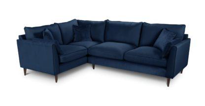 An Image of Habitat Hector Left Corner Velvet Chaise Sofa - Navy