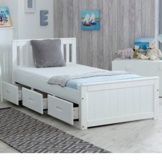 An Image of Wooden Storage Bed Frame 3ft Single Mission White