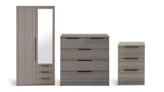 An Image of Argos Home Hallingford 3 Piece Wardrobe Set -Grey Oak Effect