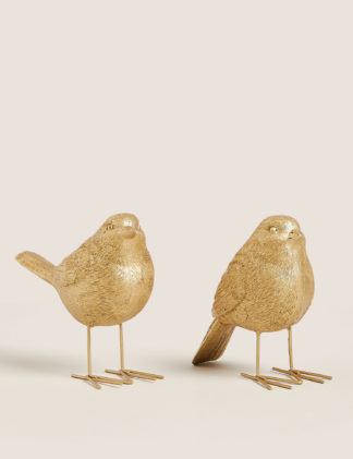 An Image of M&S 2 Pack Gold Robin Room Decorations, Gold