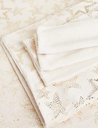 An Image of M&S Fleece Foil Star Bedding Set