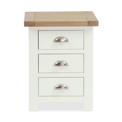 An Image of Wilby Cream 3 Drawer Bedside Table Cream (Natural)