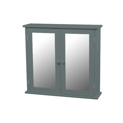 An Image of Classic Grey Mirrored Double Door Bathroom Cabinet