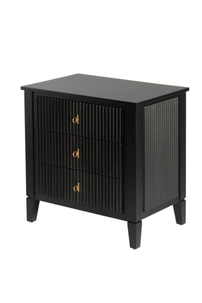 An Image of Heidi Black Bedside Table Brass/Silver