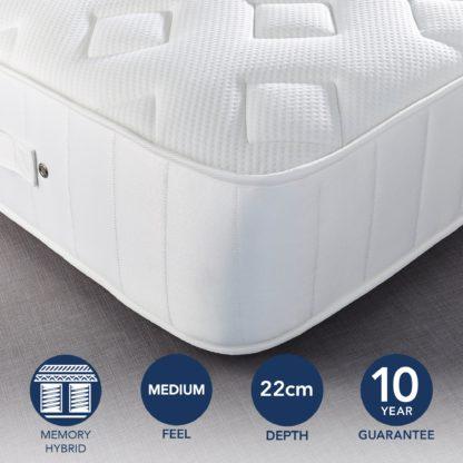 An Image of Fogarty Dreamy Comfort Memory Foam Top 1000 Pocket Sprung Mattress Yellow