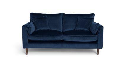 An Image of Habitat Hector 2 Seater Velvet Sofa - Navy