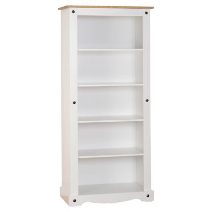 An Image of Corona Pine White Tall Bookcase White and Brown