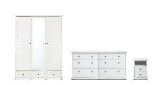 An Image of Habitat Heathland 4 Pc 3 Door 3 Drw Wardrobe Set - White