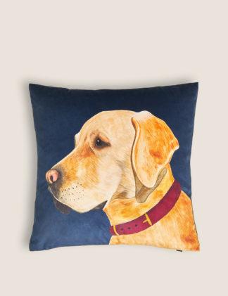 An Image of M&S Velvet Labrador Print Cushion