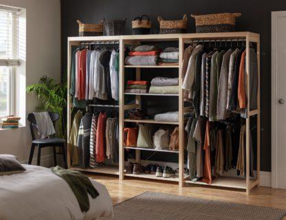 An Image of Habitat Flicka Triple Rail Wardrobe Set - Pine