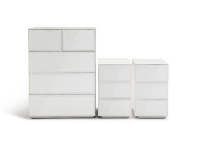 An Image of Habitat Mayfair 2 Bedside & 3+2 Drawer Chest Set-White Glass