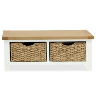 An Image of Wilby Cream Small Bench With Baskets Buttercream
