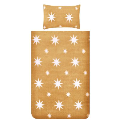 An Image of Snuggle Fleece Bedding Set - Ochre Star - Single