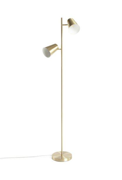 An Image of Habitat Iras Brass 2 Light Floor Lamp - Gold